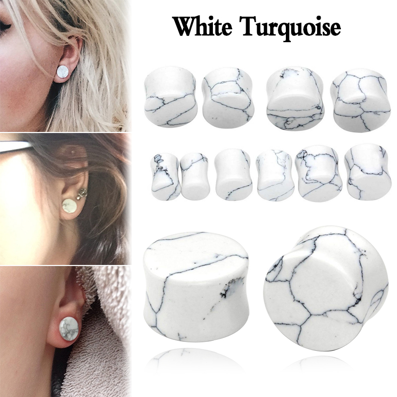 1 Pair White Stone Ear Tunnel Plugs Organic Natural Gauges Flesh Piercing Body Jewelry Reamer Expander5 25mm In From
