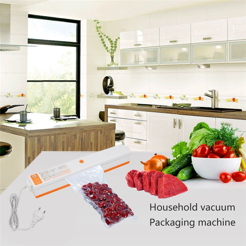 EU Plug Household Electric Vacuum Sealer Food Storage Packaging Machine Films Sealer Vacuum Packer With 15 Pcs Seal Bags sf 270 220v household food vacuum sealer packaging machine film sealer vacuum packer 300w manual sealing machine