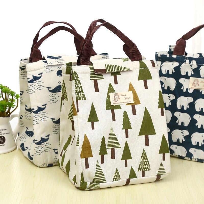 Kreativní ztenčený obalový sáček Cartoon Insulation Bags Vodotěsný strom Velryba tisku Kabelka Obědové boxy pro studenty Kancelářské dámy