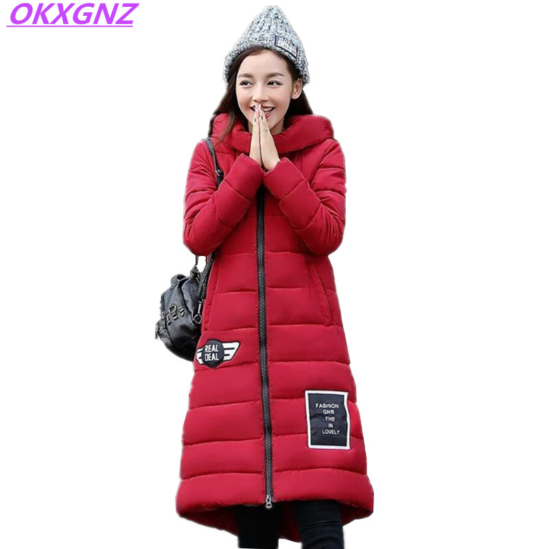 OKXGNZ Winter Women Jacket 2017New Fashion Cotton Feather Jacket Costume Elegant Warm Long Coat Women Basic Coats Plus Size A015 okxgnz winter cotton jacket coat women 2017long cotton padded costume hooded loose warm coats plus size women basic coats ah021