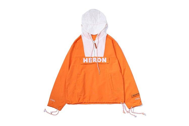 2018 Qualité Hommes Femmes Hiphop Fermeture Preston Imperméable vent Broderie Streetwear Demi Coupe Heron Meilleur Logo Éclair Veste 55pFwrq
