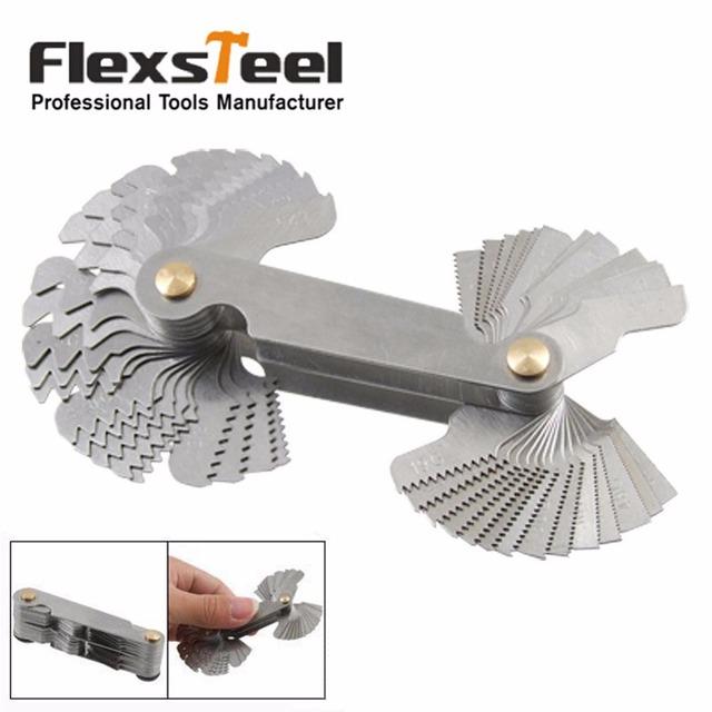 Screw Thread Pitch Gauge Measuring Gauging Tools52 Blades Set SAE Whitworth 55-Degree & Metric 60-Degree Grip Whitworth