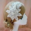 Luxo doce princesa noiva artesanal de cristal de diamante flor faixa de cabelo acessórios de cabelo