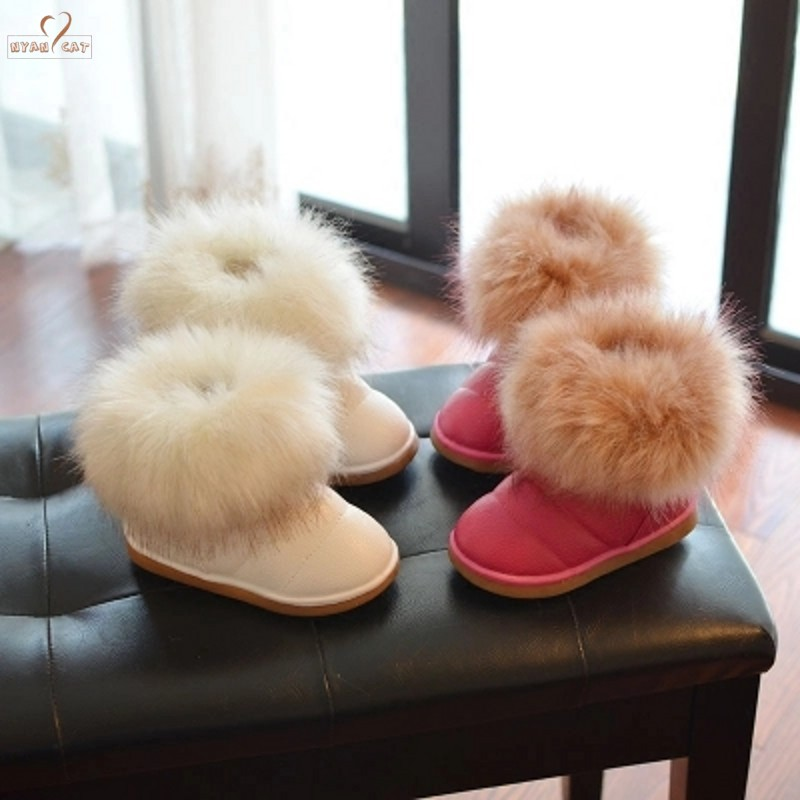 Children Shoes Boots Winter Todderl Baby-Girls Kids Warm Cotton Buckle Faux-Fur Thick