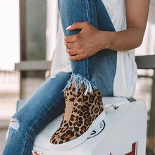 19 Women's Wedge Sneaker Vulcanize Shoes Fashion Zip Leopard