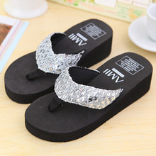 Sliver Summer Shoes Women Platform Sandals Wedge Flip Flops Sapato Feminino High Heel slippers Sandalias Plataforma Chanclas(China)