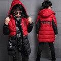 Niños de Invierno Parkas Abrigos Casual Warm Kid Sólido Vestidos Moda Niños Abajo Chaqueta Gruesa Con Capucha Infantil prendas de Vestir Exteriores 4-14