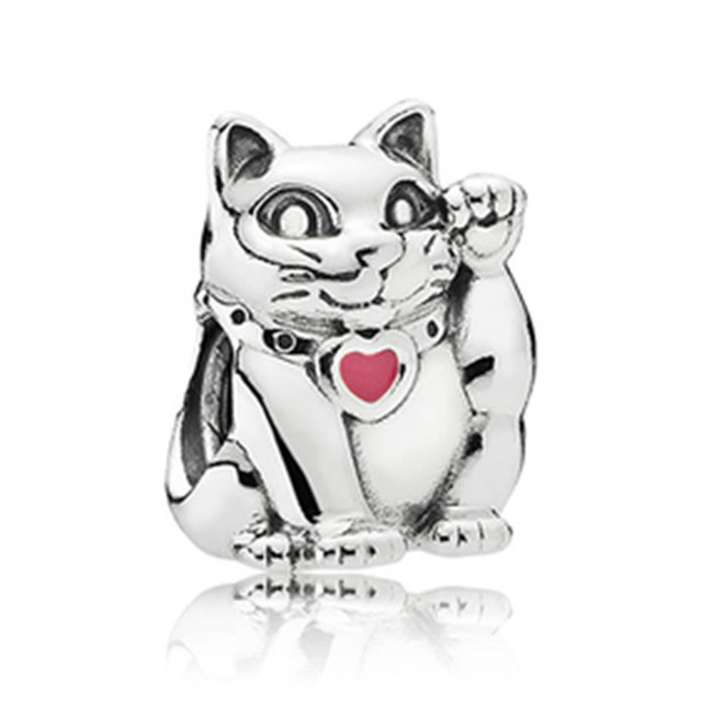 Authentic S925 Sterling Silver Diy Jewelry Lucky Fortune Cat Charm