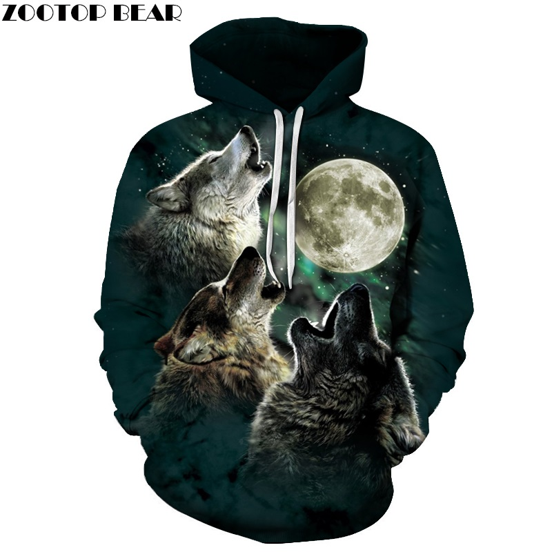 Wolf Printed Mans Hoodies Tracksuit 3D Hooded Sweatshirts Autumn Spring Pullover Fashion Tracksuits Animal Brand Quality Outwear