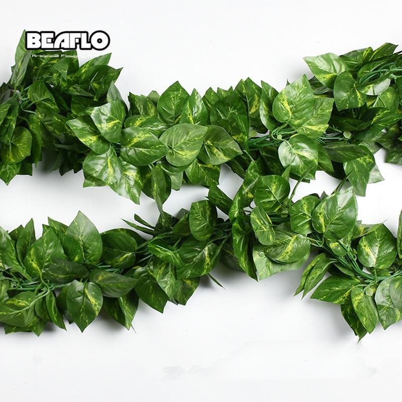 10 Style 1pc Artificial Decoration Vivid Vine Rattan Leaf Vagina Grass Plants Grape Leaves For Home Garden Party Decor B1015