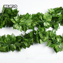 10 Style 1pc Artificial Decoration Vivid Vine Rattan Leaf Vagina Grass Plants Grape Leaves For Home Garden Party Decor B1015(China)