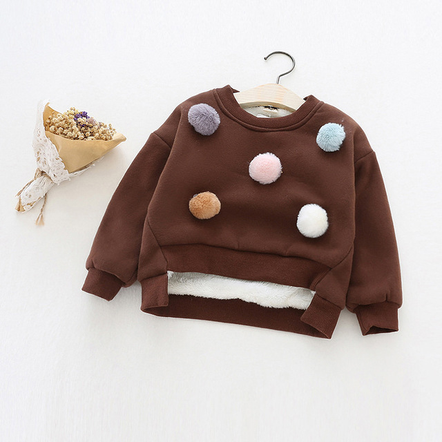 2016 winter and autumn new girls velvet thicken wool ball pullover children warm hoodies with cute balls for girl clothes