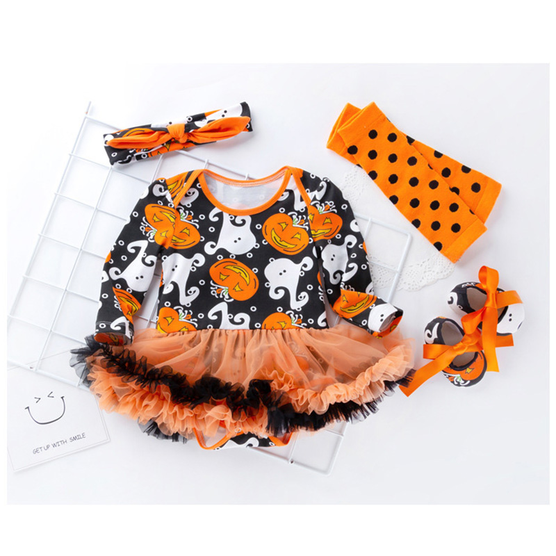 2018 cotton baby girl   romper   long sleeve pumpkin halloween costume baby   rompers   set newborn baby clothes baby   romper   dress R28