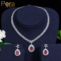 Pera Elegant Women India Red Cubic Zircon Stone Big Water Drop Necklace And Earrings Sets For Engagement Party Gift Jewelry J183