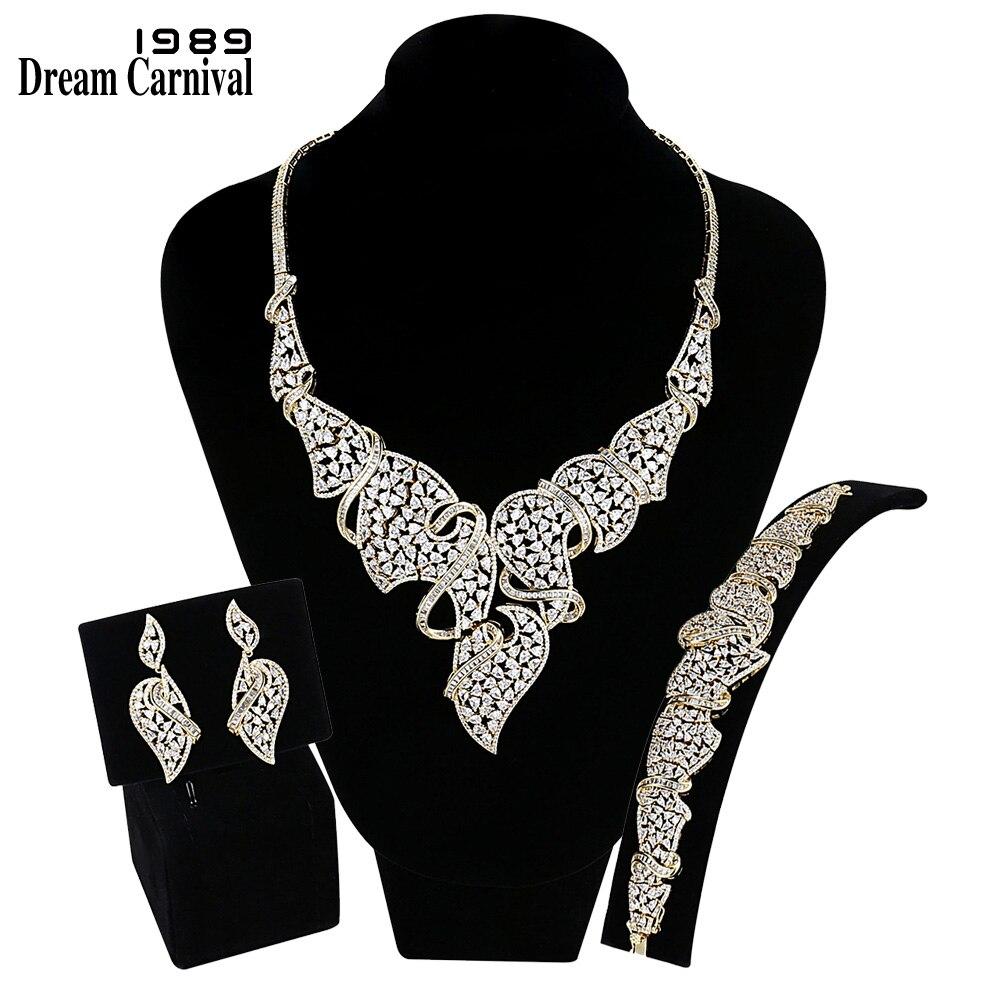 Dreamcarnaval 1989 luxe nuptiale mariage bijoux ensembles femmes CZ pavé Rhodium or couleur anniversaire Ramadan Haj Eid cadeau SN06413