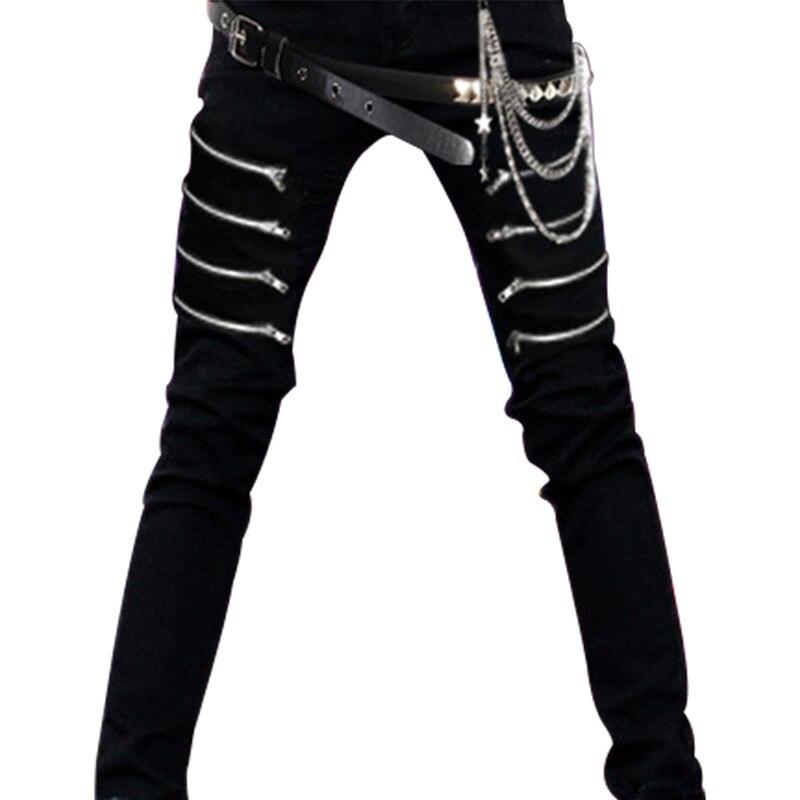 Mens Punk Hiphop Revits Pants Black Denim Jeans Pencil Trousers+Chain full set