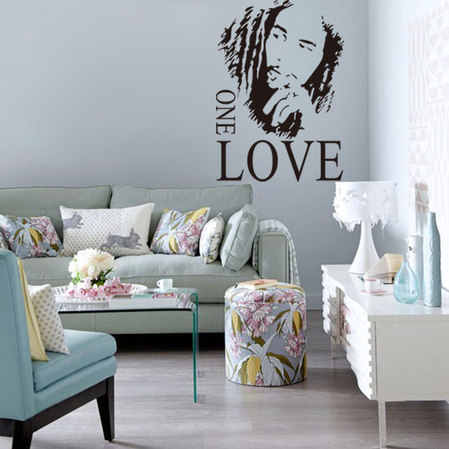 Online Shop BOB MARLEY GRAPHIC ONE LOVE Quote Music Fan Wall Stickers For Bathroom Bedroom Decoration Vinyl Wallpapers Home Decor Poster
