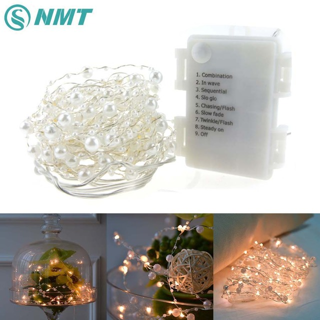 6m 60 led pearl copper wire string lights warm white aa battery fairy lights for christmas