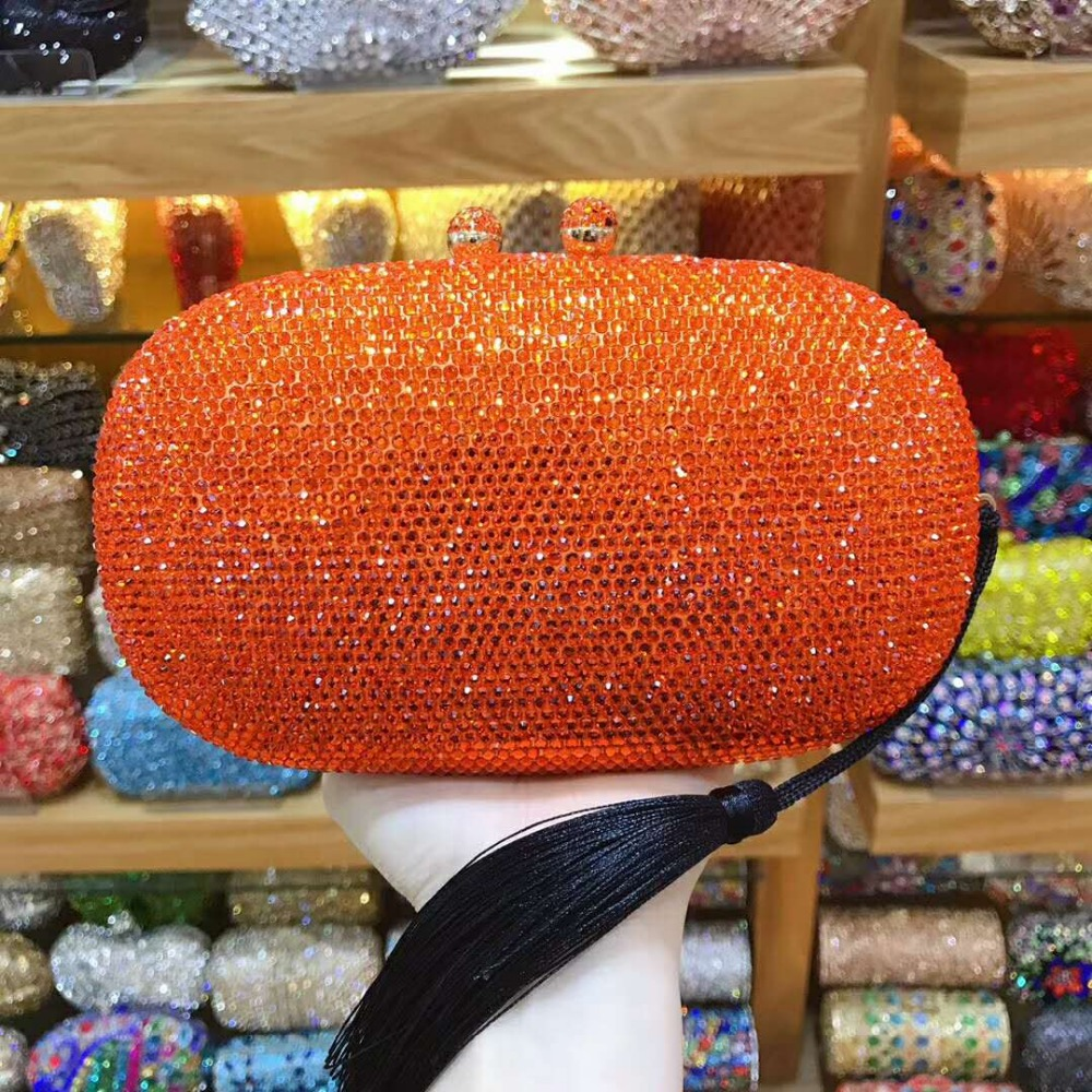 XIYUAN orange Clutch Bag Crystal Bags Women Wedding blue Diamond Evening Bag Holiday Ladies Party gold small Purse MINAUDIERES