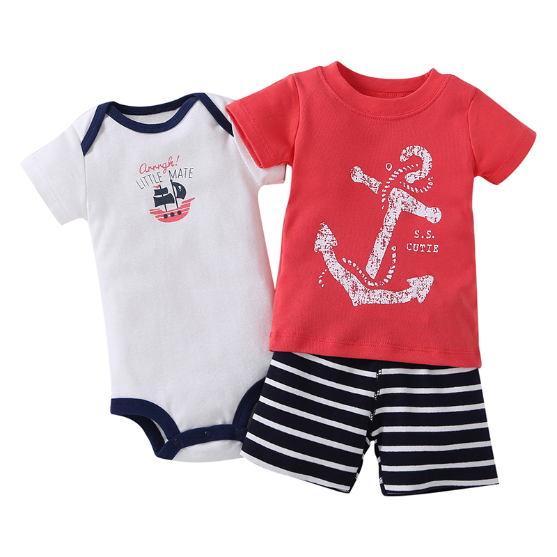 2017 New Cotton Baby Clothing Set Rompers Boys Hot Sale Striped Clothes Summer Style Sets 3 Pieces/set=1 Body Suit + 1 Romper new 2017 summer children boys sets cotton casual striped sports clothing 2 pieces boy o neck pullover shorts set kid clothes hot