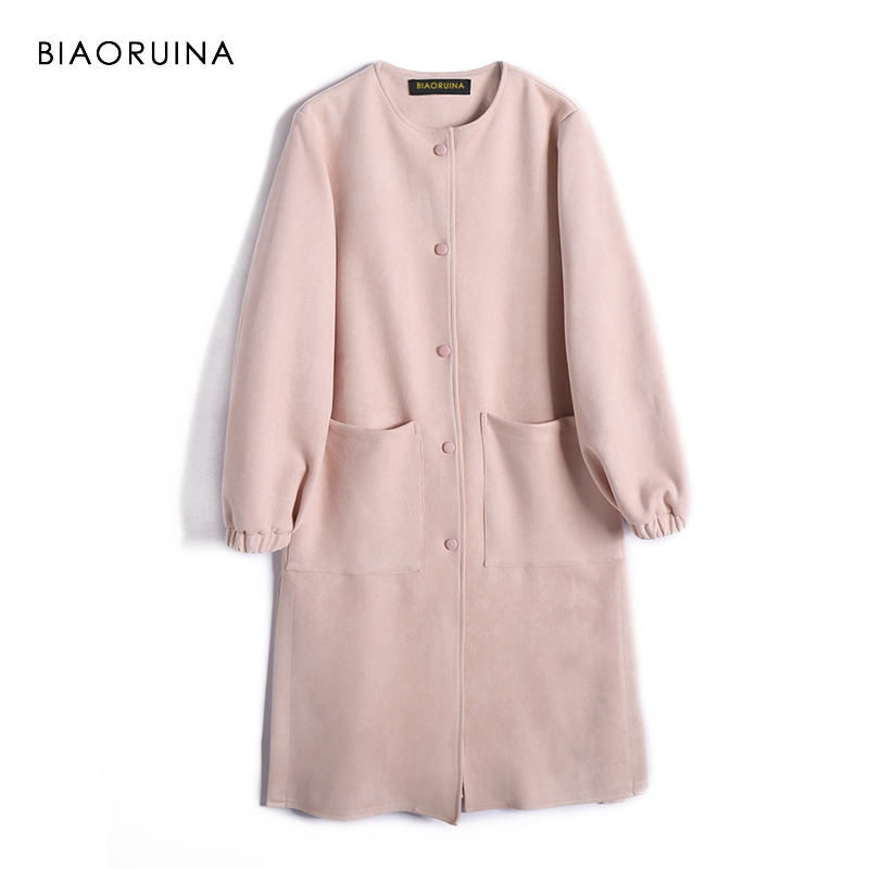 BIAORUINA Women Loose Single Breasted Suede Long   Trench   Coat O-neck Female Chic Solid   Trench   Office Lady Chic Casual Coats