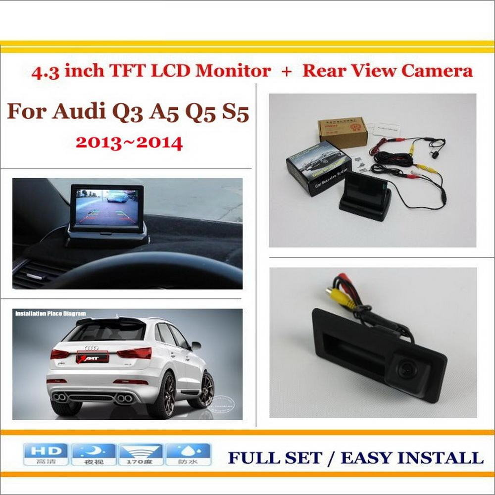 Car Reverse Backup Rear Camera + 4.3 TFT LCD Screen Monitor = 2 in 1 Rearview Parking System / For Audi Q3 A5 Q5 S5 2013 2014 7 tft lcd color monitor car rearview camera monitor video reverse camera backup reverse monitor system free shipping