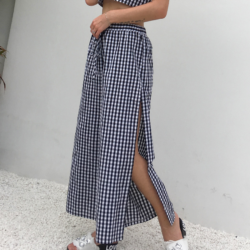 Side Slit High Waist Drawstring Loose   Wide     Leg     Pants   Women Summer   Pants   2019 Elastic Waist Ankle-Length Women Casual   Pants   Plaid