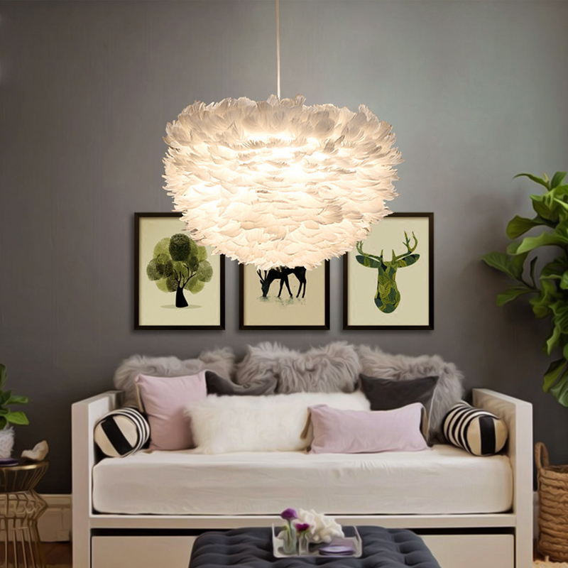 Modern White Nature Goose Feather Pendant Lights Romantic E27 Led Pendant Lamps For Home Lighting Restaurant Bedroom Living Room