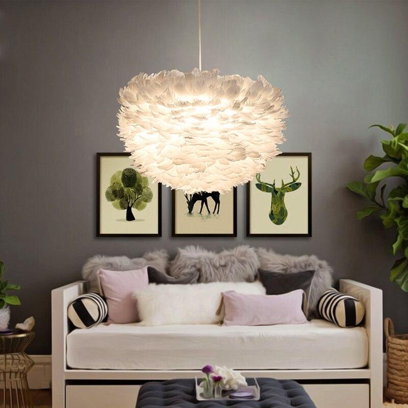 Moderne blanc nature plume D'oie Pendentif Lumières romantique E27 led pendentif lampes pour la maison éclairage restaurant chambre salon
