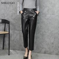 SHILO GO Leather Pants Womens Autumn Fashion sheepskin genuine leather Pants double breasted stretch high waist pencil pants