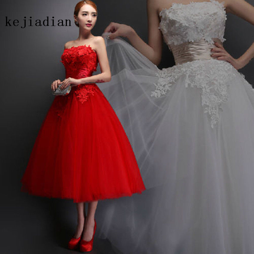 Vintage Wedding Dresses Red: Vintage Red Romantic Tea Length Wedding Dress Ball Gown