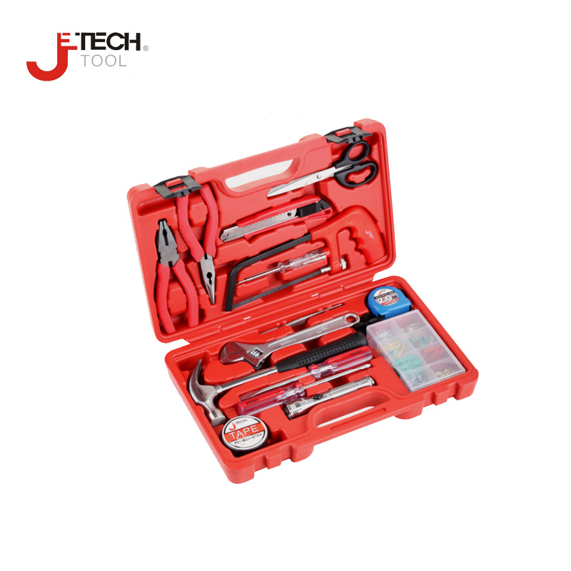 цена Jetech tool 15pc/set combination household repair hand tool set toolkit box for tools