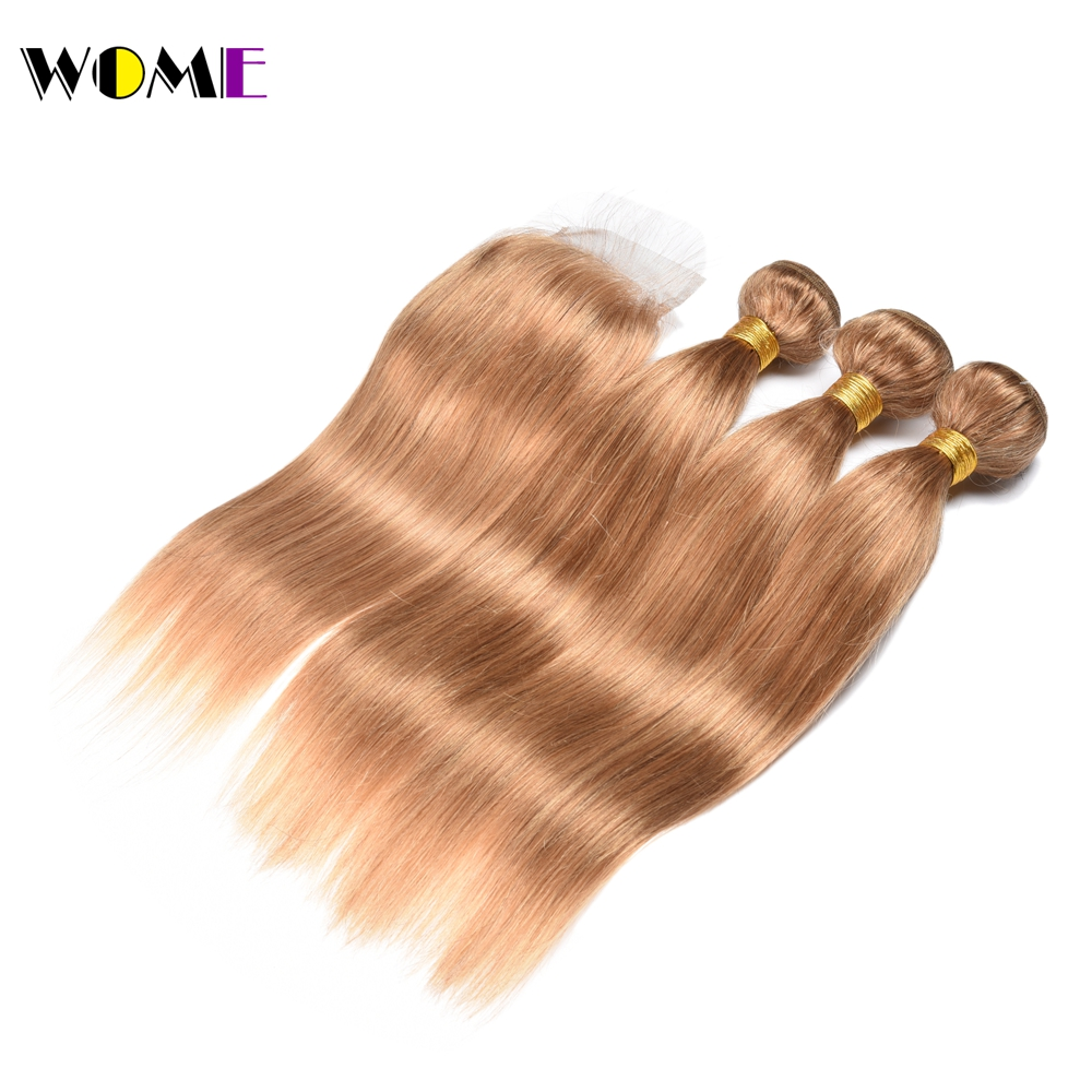 Hair Extensions & Wigs 3/4 Bundles With Closure Wome #27 Peruvian Straight Hair With Closure Honey Blonde Color Human Hair Weave 3 Bundles With 4x4 Lace Closure Non Remy Hair