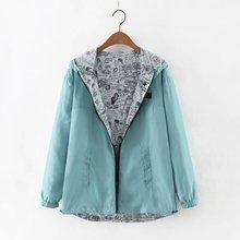 Kumaiya Осенняя Женская куртка-бомбер Базовая куртка с карманом на молнии с капюшоном двухсторонняя одежда верхняя одежда с мультяшным принтом Свободное пальто