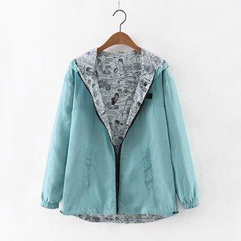 Bomber Basic Pocket Zipper Hooded Two Side Wear Women's Jacket