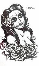 10x6cm Temporary Small Fashion Tattoo Black Sexy Rose Girl Waterproof Temporary Tattoo Stickers