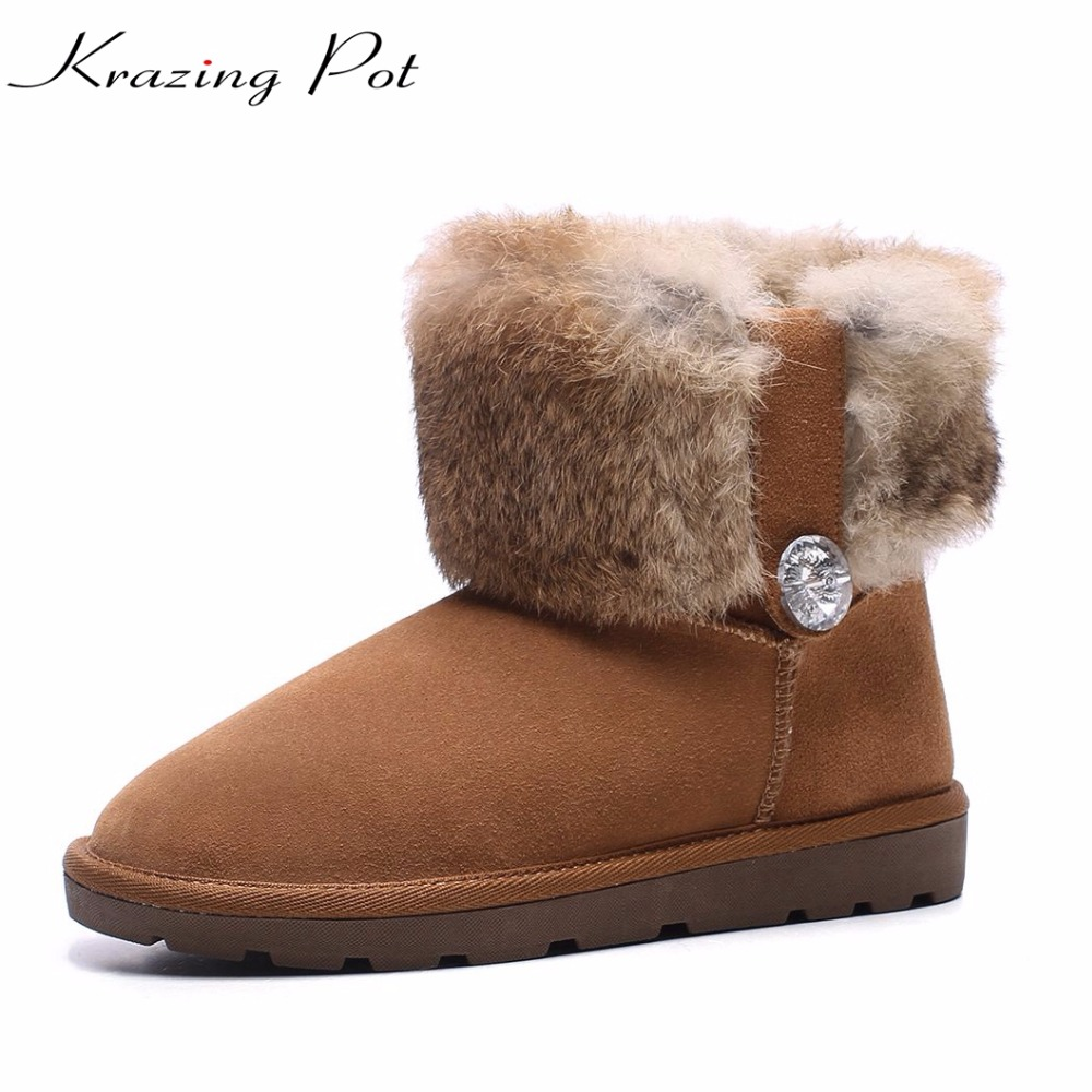 Krazing pot cow suede rabbit fur round toe flat with low heels crystal decoration winter snow boots keep warm ankle boots L22 big size 34 43 winter russian women keep warm shoes 100% cow suede fur shoes flat with round toe solid ankle lady snow boots