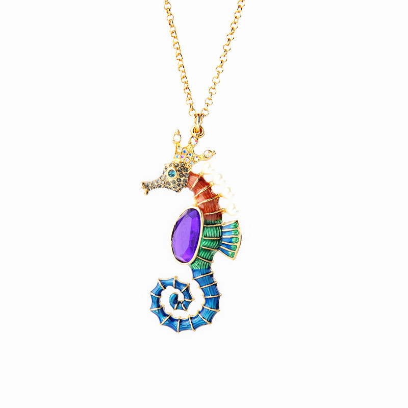 Simple Enamel Animal Sea Horse Long Pendant Necklace Brand Designer Sweater Chain Spring Jewelry