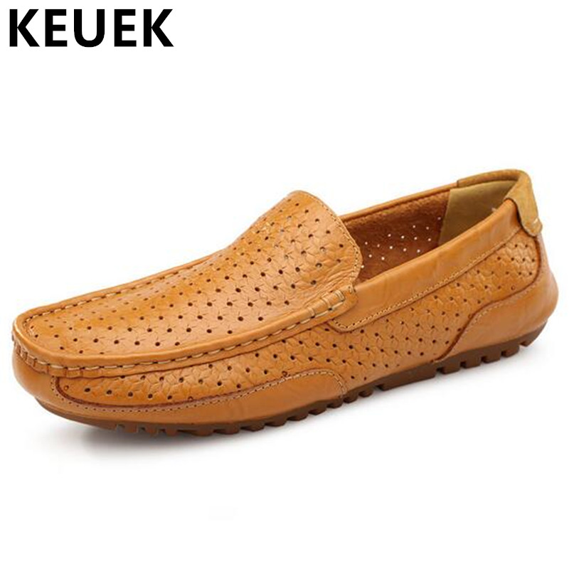 2017 Summer Hollow out Loafers Men Slip-On Flats Genuine leather Breathable Driving shoes zapatillas hombre Male Boat shoes 03 2017 new fashion summer spring men driving shoes loafers real leather boat shoes breathable male casual flats