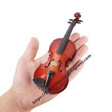 Mini violino personalizado, instrumentos musicais personalizados em madeira com suporte modelo de enfeites musicais em miniatura