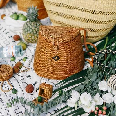 Hot Bali New Handmade Rattan Woven Backpack Luxury Brand Bohemian Straw Shoulder Bag Fashion Retro Beach Bag Travel Holiday Bag Сумка