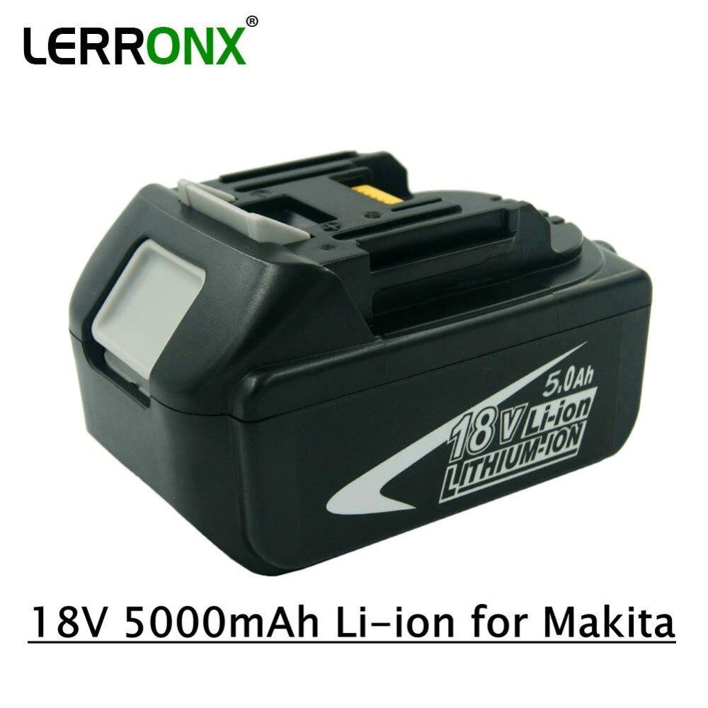 Batterie de rechange pour outils électriques LERRONX 18 V 5000 mAh Li ion pour batterie Rechargeable Makita BL1815 BL1850 LXT400 BL1840 BL1830