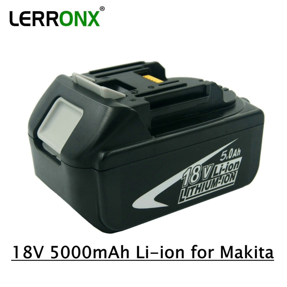 LERRONX 18V 5000mAh Li ion Power tools Replacement battery For Makita BL1815 BL1850 LXT400 BL1840 BL1830 Rechargeable batteria-in Replacement Batteries from Consumer Electronics