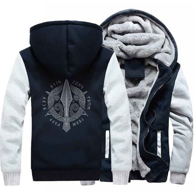 Men long Sleeve wool liner Clothes Odin Viking hooded jackets zipper thicken warm sweatshirts Vikings Odin man's tracksuits 2018 2