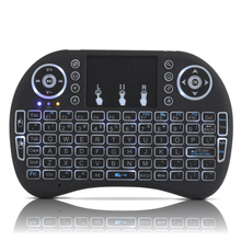 RU,ES,FR 3 Color Backlight Wireless Keyboard Air Mouse With Touchpad Mouse Combo Rechargeable Battery for Android Smart TV PC