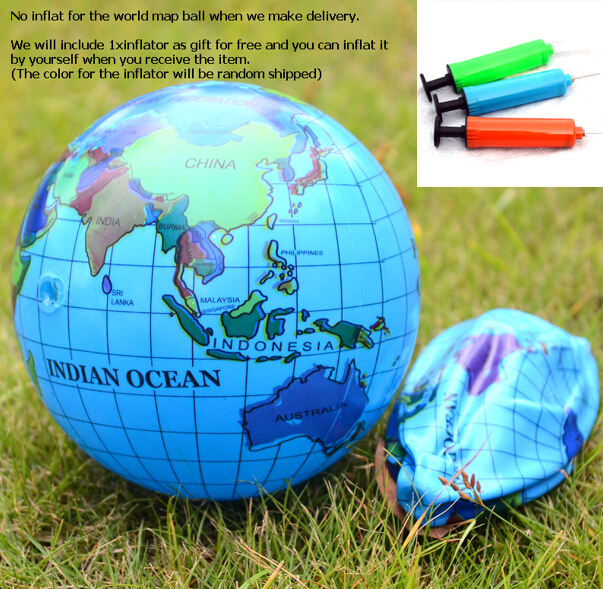 Geography World Map Ball Toy Inflatble Earth Globe Baby Kids - Globe map for kids