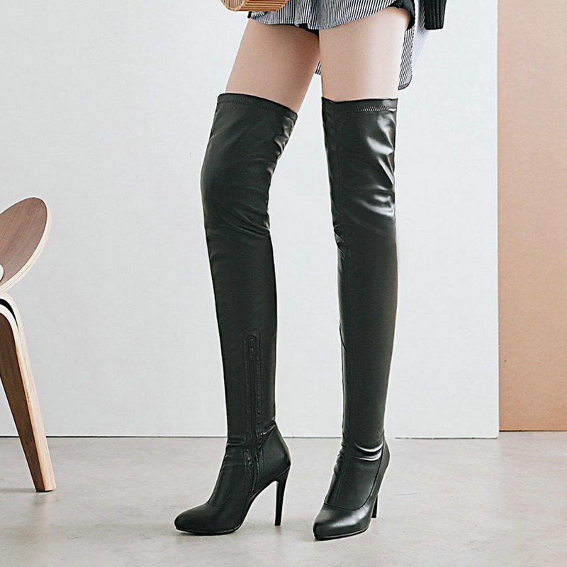 Ladies Sexy Thin High Heel PU Over the Knee Boots Fashion Zipper Thigh Boots Women Fall Winter Pointed Toe Shoes Black White jialuowei women sexy fashion shoes lace up knee high thin high heel platform thigh high boots pointed stiletto zip leather boots