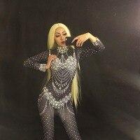 Для ночного клуба Черные Блестящие кристаллы боди пикантные Легинсы костюм, головной убор для танцев Одежда для сцены певица этап комбинез