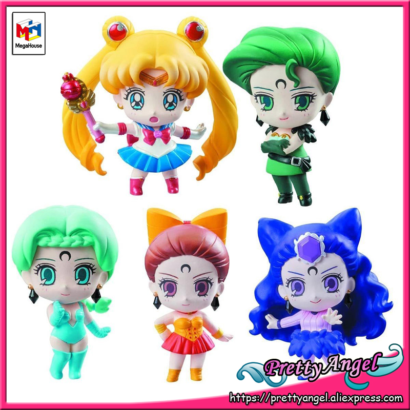 PrettyAngel - Genuine Megahouse Petit-Chara! Figurine Sailor Moon Ayakashi no Yonshimai Hen Figure Set of 5 PCS
