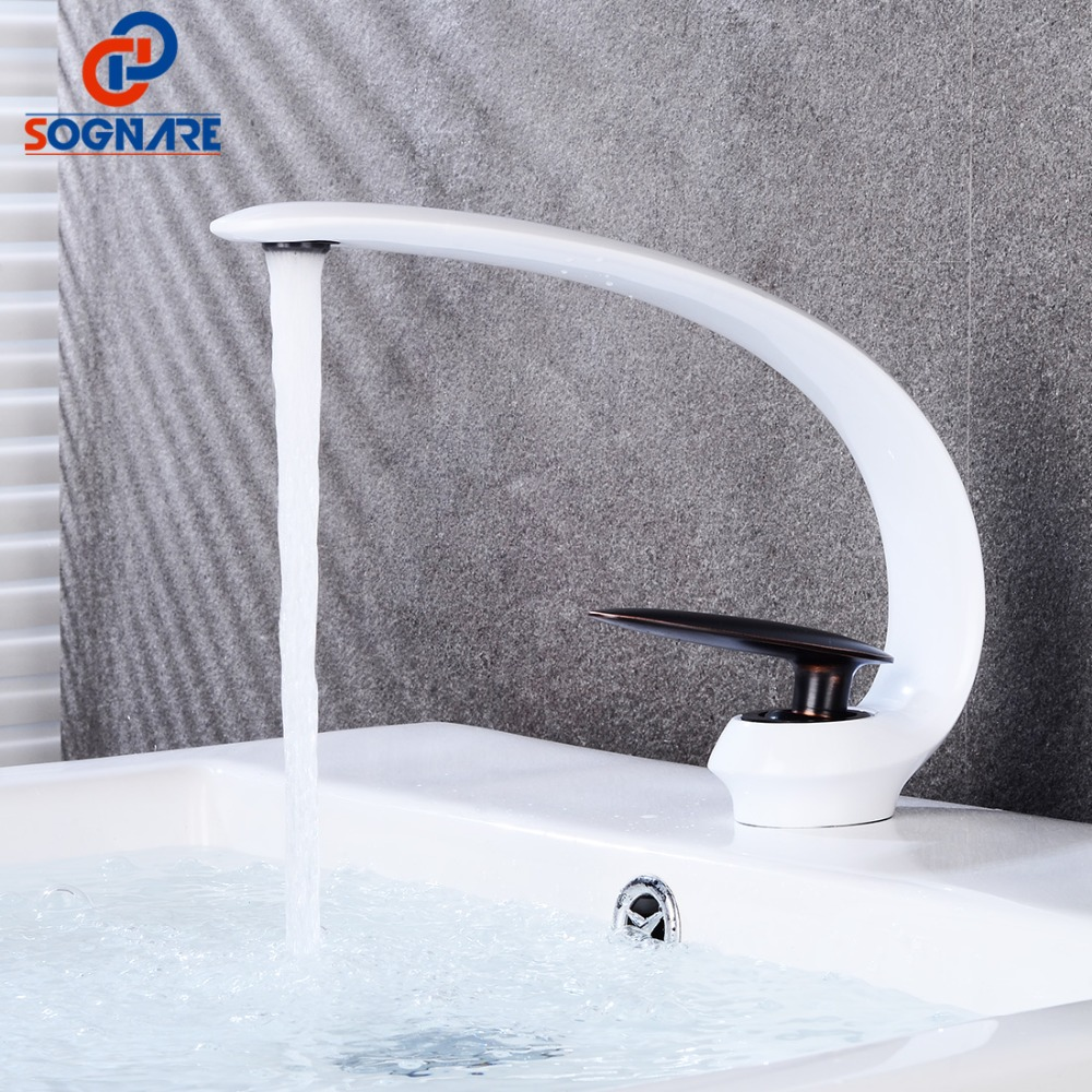 Contemporary White Basin Faucet Single Lever Sink Tap for Bathroom Sink Faucet Basin Mixer Tap Hot Cold Water Tap Deck Mount Contemporary White Basin Faucet Single Lever Sink Tap for Bathroom Sink Faucet Basin Mixer Tap Hot Cold Water Tap Deck Mount